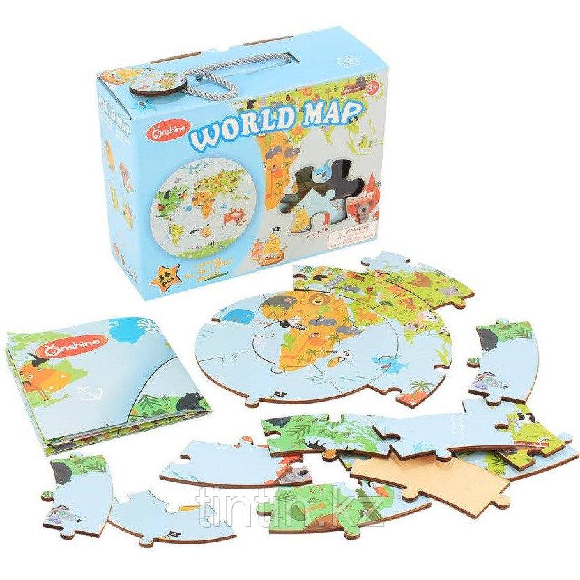Деревянные Пазлы - Карта мира (36 деталей)