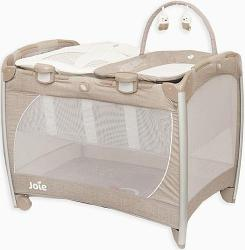 Манеж-кровать Joie Playard Excursion change and bounce Tan Stripe Brown