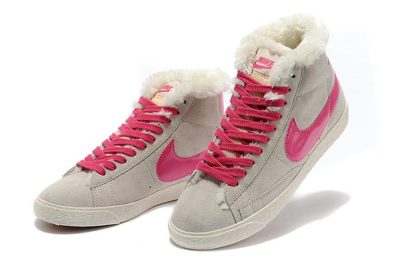 женские кроссовки Nike Air Max зима серо-розовые