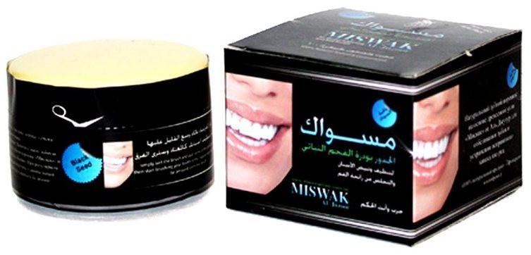 Угольный зубной порошок Мисвак, 45 гр, отбеливающий