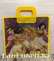 Детская папка-портфель с пластиковыми ручками Принцессы Диснея формат A4 желтая