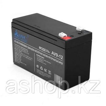 Батарея необслуживаемая (аккумулятор) SVC AV 12V 9A (12V 9 Ah), Емкость аккумулятора: 9 Ah, Разъемы: F1/F2