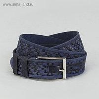 Ремень мужской, винт, пряжка под металл, ширина - 3,5см, цвет синий