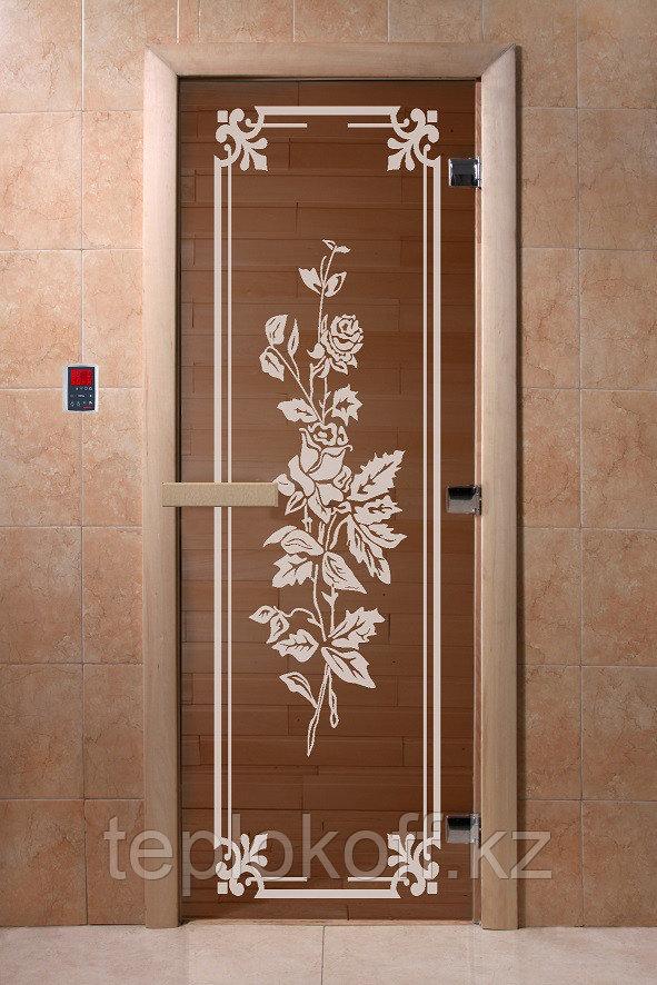 """Дверь стеклянная банная """"Розы"""", 3 петли,  стекло 8 мм, коробка Ольха"""