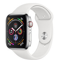 Apple Watch Series 4 40mm Stainless Steel Case with White Sport Band