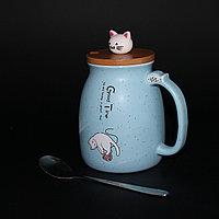 Кружка «Котик-Neko» с деревянной крышкой, фото 1