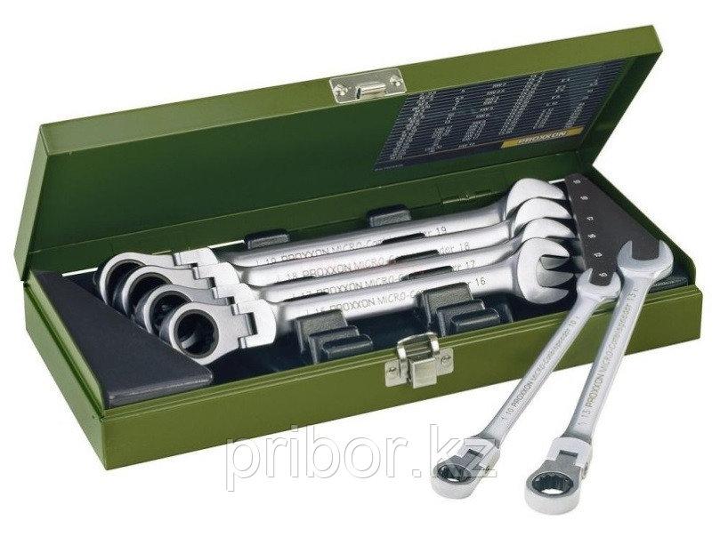 23068 Proxxon Набор комбинированных ключей с трещоткой и шарниром 6 шт. 10-19мм