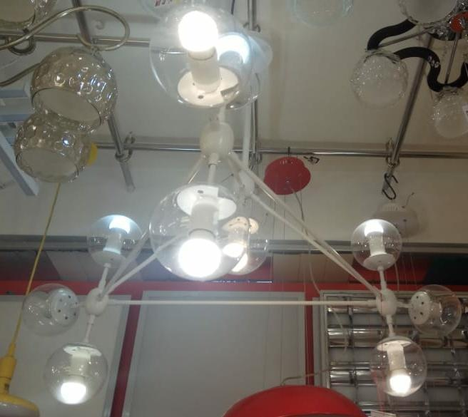 Люстра лофт молекула 10-рожковая белая