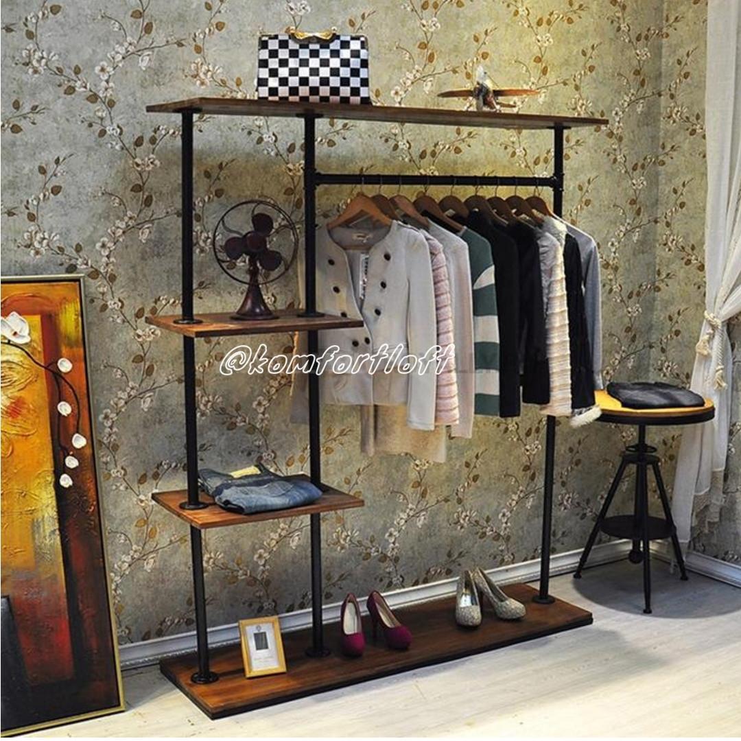 Вешалка с полочками для одежды в стиле Лофт