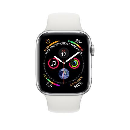 Apple Watch 40mm Series 4 Silver Aluminum Case with White Sport Band, фото 2