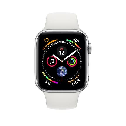 Apple Watch 44mm Series 4 Silver Aluminum Case with White Sport Band, фото 2