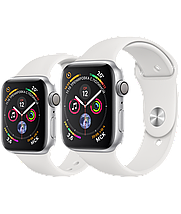 Apple Watch 44mm Series 4 Silver Aluminum Case with White Sport Band, фото 3