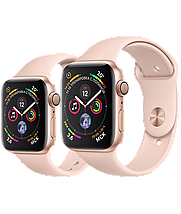 Apple Watch 44mm Series 4 Gold Aluminum Case with Pink Sand Sport Band, фото 3