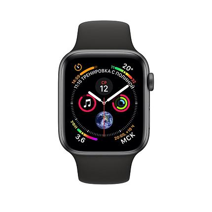 Apple Watch 44mm Series 4 Space Gray Aluminum Case with Black Sport Band, фото 2