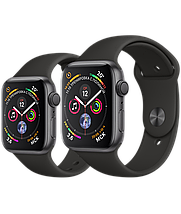 Apple Watch 44mm Series 4 Space Gray Aluminum Case with Black Sport Band, фото 3