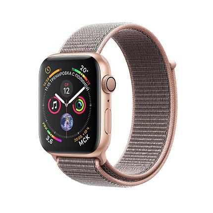 Apple Watch 44mm Series 4 Gold Aluminum Case with Pink Sand Sport Loop, фото 2