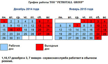 "График работы ""Petrotall Group"" декабрь 2014г - январь 2015г."