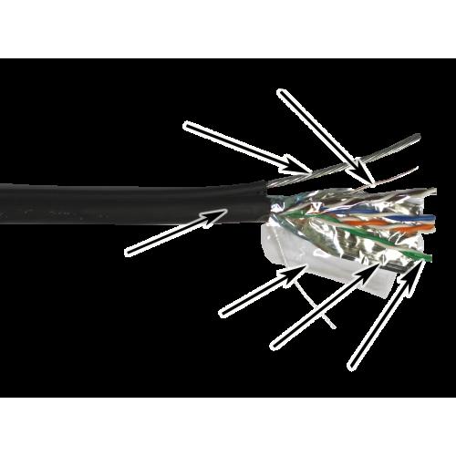 Кабель TWT FTP, 4 пары, Кат.5е, для внешней прокладки, с тросом, 305 м