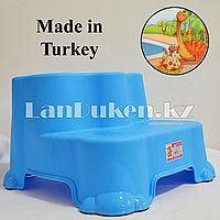 """Табурет-подставка (ступенька) детская двухуровневая """"Динозаврики"""" синяя"""