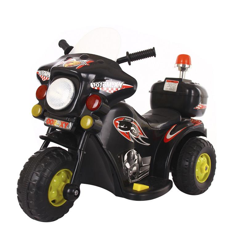 Детский электромотоцикл 991 Полиция, черный