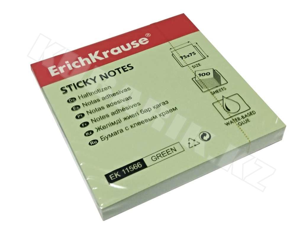 Клейкие листки ERICH KRAUSE 75х75 мм, зеленые, 100 листов