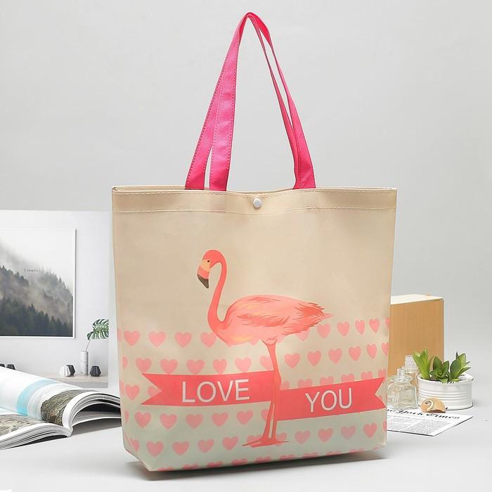 """Сумка для покупок """"Фламинго"""", отдел на кнопке, ручки, цвет розовый"""