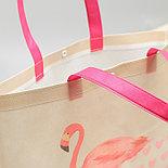 """Сумка для покупок """"Фламинго"""", отдел на кнопке, ручки, цвет розовый, фото 2"""