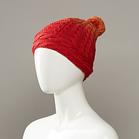 Achilla Cable Knit Slouch Hat With Pom