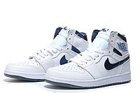 "Кожаные кроссовки Air Jordan 1 Retro ""Metallic Blue/White"" (40-46), фото 1"