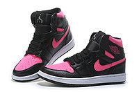 """Кожаные кроссовки Air Jordan 1 Retro """"Black/Pink"""" (36-40), фото 3"""