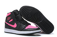 """Кожаные кроссовки Air Jordan 1 Retro """"Black/Pink"""" (36-40), фото 2"""