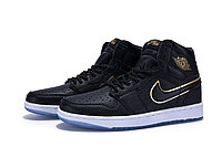 "Кожаные кроссовки Air Jordan 1 Retro ""Black/Gold/White"" (40-46), фото 1"