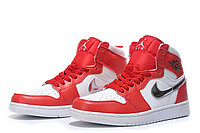"Кожаные кроссовки Air Jordan 1 Retro ""Red/White/Silver"" (40-46), фото 1"