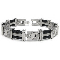 Men's Titanium Black Cable Link Bracelet