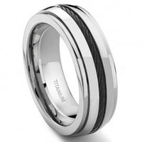 Titanium 8MM Black Cable Ring