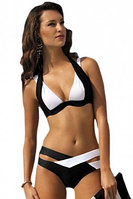 Black White Color Block Push up Swimwear