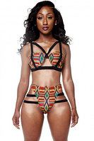 African Print Inspired Two Piece Bathing Suit
