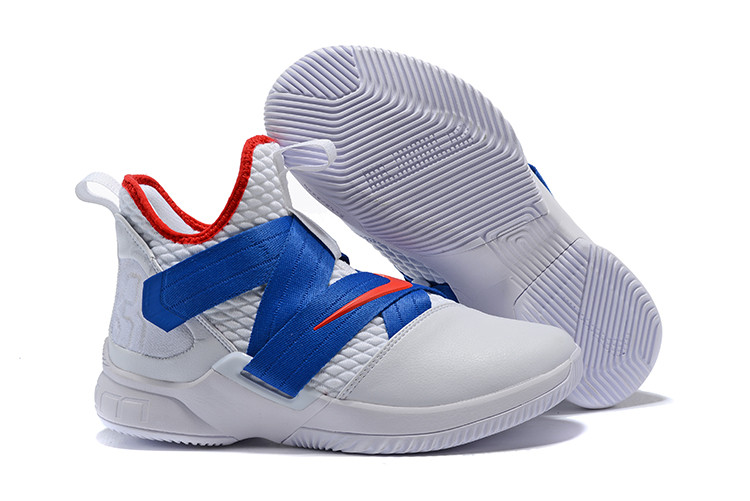 """Кроссовки Nike Lebron Zoom Soldier 12 (XII) """"White/ Blue/ Red"""" (40-46)"""