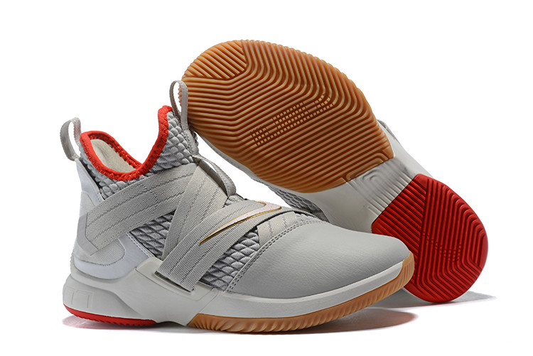 "Кроссовки Nike Lebron Zoom Soldier 12 (XII) ""Grey/ Red/ Gold"" (40-46)"