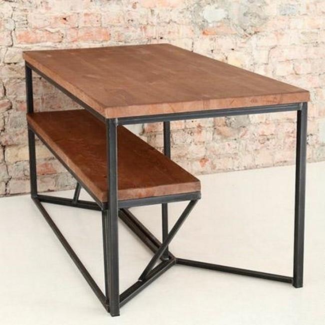 Стол с лавкой на металлическом основании (стол, 2 скамейки)