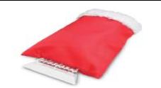 Пластиковый скребок для лобового стекла с теплой варежкой. Цвет Красный
