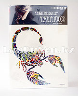 Временная татуировка Temporary tattoo скорпион HY-011 18.5 х 26.2 см цветная
