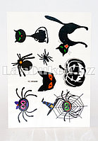 Временное тату Temporary face tattoo YC-WS009 Хэллоуин (Halloween) 15х25 см цветной