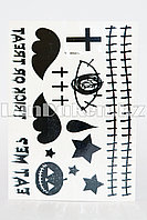Временное тату Temporary face tattoo YC-WS011 Хэллоуин (Halloween) 15х25 см черный