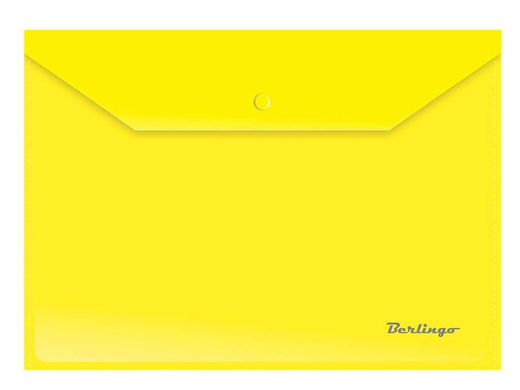 Папка-конверт на кнопке Berlingo, А4, 0,18 мм, желтая