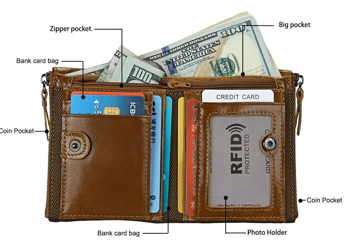 Кожаное портмоне RFID protected