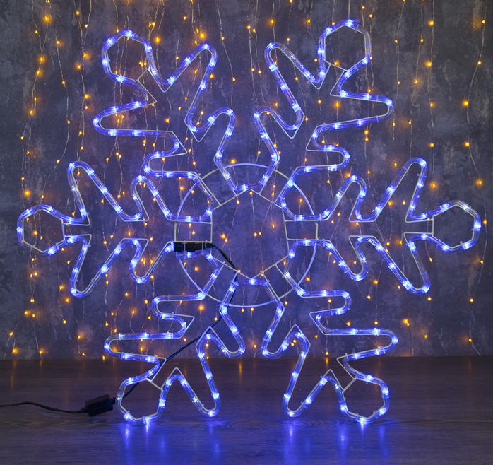 "Фигура дюралайт ""Снежинка"" 80х80 см,192/32 LED,мерцание,220V СИНИЙ-БЕЛЫЙ"