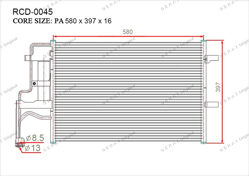 Радиатор кондиционера Gerat OEMBPYK61480ZA