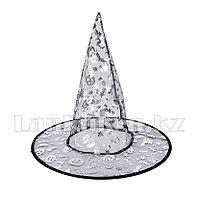 Шляпа ведьмы на Хэллоуин (Halloween) полупрозрачная с серебристым рисунком (высота 34 см)