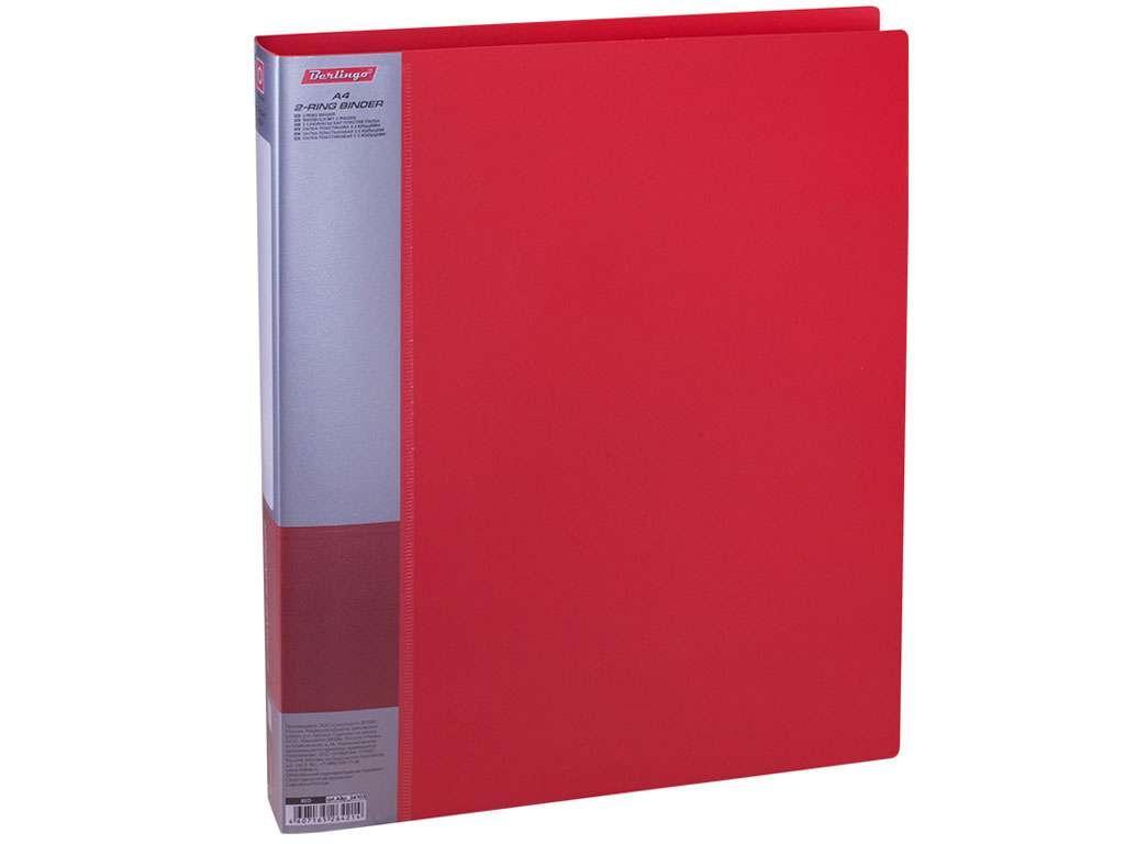 """Папка на 2-х кольцах BERLINGO """"Standard"""", пластиковая, корешок 40 мм, красная"""